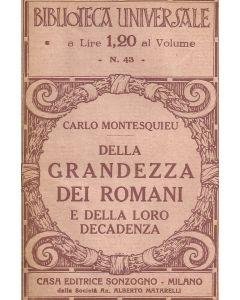 DELLA GRANDEZZA DEI ROMANI e DELLA LORO DECADENZA di Carlo Montesquieu