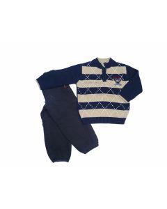 Completo Pantaloni + Maglione effetto argyle