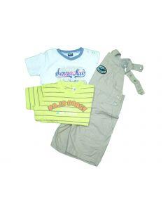 COORDINATO 3 PEZZI salopette + t-shirts